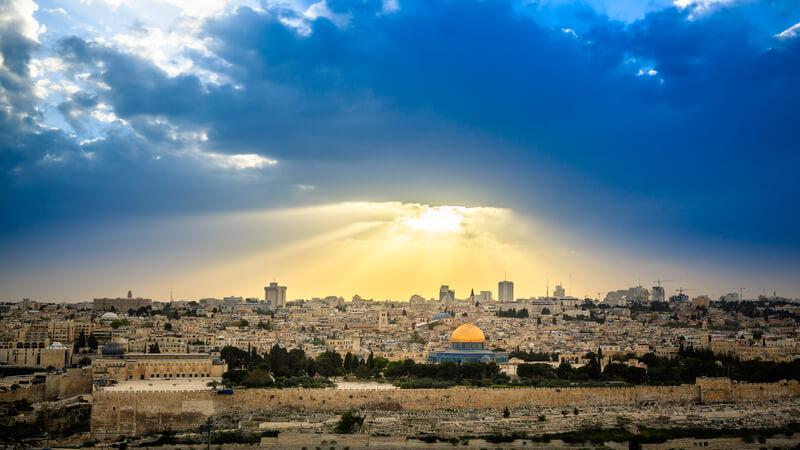 Céu da cidade de Jerusalém em Israel